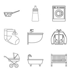 Family commitments icons set outline style vector