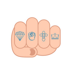 fist with tattoos on fingers sign brilliant and vector image