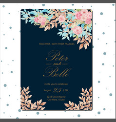 floral wedding invitation with beautiful flowers vector image