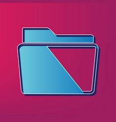 folder sign blue 3d printed vector image