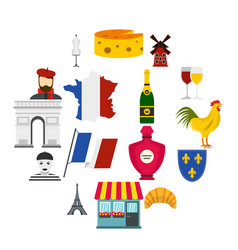 France travel set flat icons vector