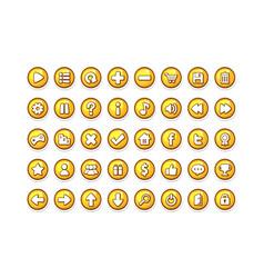 Game button templates yellow vector