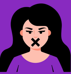 Girl with closed mouth vector