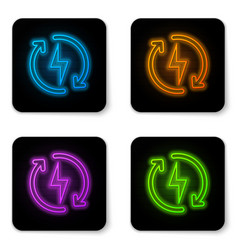 glowing neon recharging icon isolated on white vector image