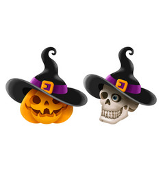 halloween pumpkin and skull with witch hat vector image