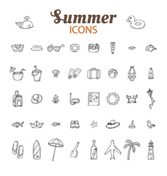 Hand drawn summer icon set Beach icons collection vector