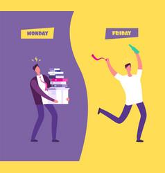 happy friday concept businessman in sad vector image