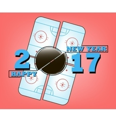 Happy new year 2017 and hockey vector
