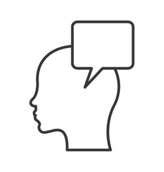 Head with conversation bubble icon vector