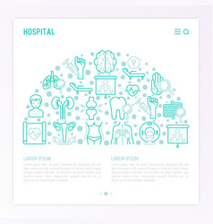 hospital concept in half circle vector image