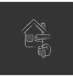 House painting Drawn in chalk icon vector image
