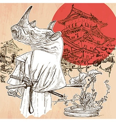 Japan samurai rhino an hand drawn picture line art vector