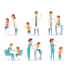 kids vaccinating doctor gives injection to vector image