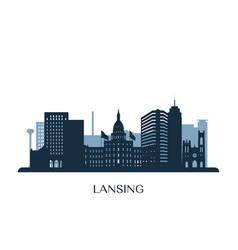 lansing skyline monochrome silhouette vector image