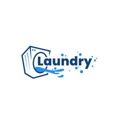 Laundry washing machine water logo sign vector