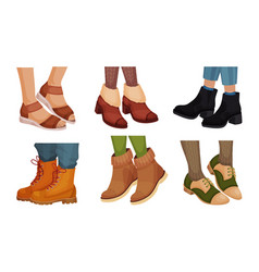Legs in different footwear with sandals and autumn vector