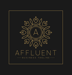 Letter a logo with classic and luxurious line art vector