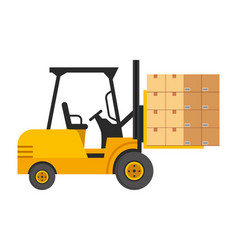 lift truck with boxes vector image
