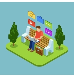 Man sitting in the park and working with laptop vector image