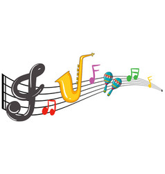 Music notes and instrument background design vector