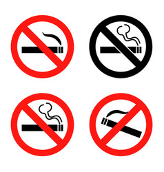 no smoking icons set flat design vector image