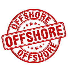 Offshore red grunge stamp vector