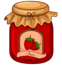 One jar strawberry jam on white background vector