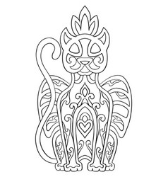 ornamental mythical panther vector image