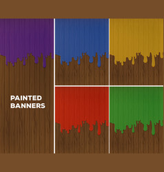 painted banners with five colors vector image