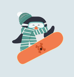 penguin with snowboarder vector image