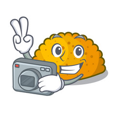 Photographer fried patties isolated on the mascot vector