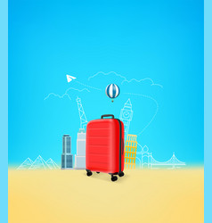 photoreal suitcase with different travel famous vector image