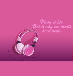 pink purple girly plastic shiny headphones vector image