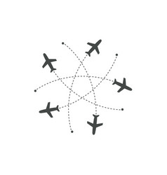 planes flying with trace in different directions vector image
