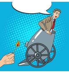 Pop Art Cannon Business Man Gets Fired vector