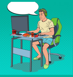 Pop art computer addicted guy vector