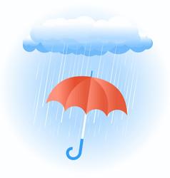 rain cloud with red umbrella vector image