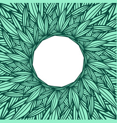 Round copyspace frame with palm leaves vector