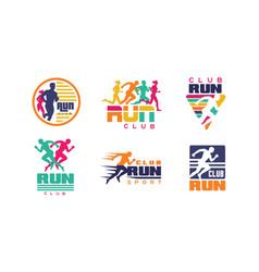 Run club logo templates collection tournament vector