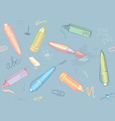 seamless background of stationery vector image