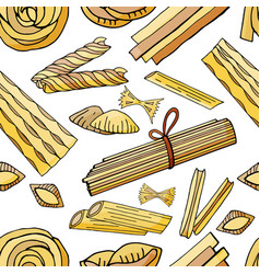 seamless pattern with different types of pasta vector image