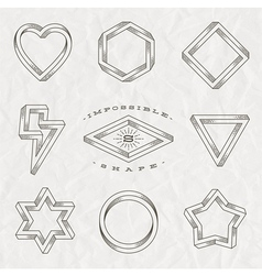set line art tattoo style impossible shapes vector image
