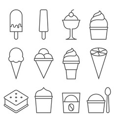 Set of ice cream icon collection vector