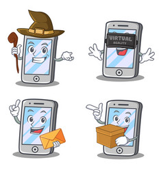 Set of iphone character with virtual envelope box vector