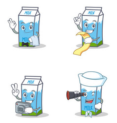 set of milk box character with waiter menu photo vector image