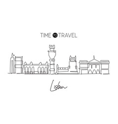 single continuous line drawing lisbon city vector image