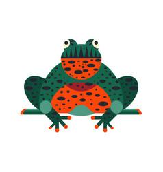 Sitting tropic bombina frog in flat design vector