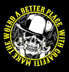 skull wearing bandana and cap hold spray paint vector image