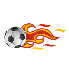 soccer ball on fire with spain flag vector image