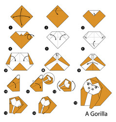 Step instructions how to make origami a gorilla vector